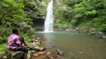 Young Boy (Age 16) By The Pool At The Base Of Bouma Falls, Taveuni Island, Fiji. MR