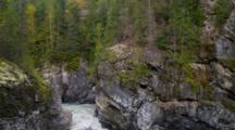 Train Above Narrows In Thompson River, British Columbia