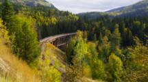 Train Crossing Trestle Above Thompson River, British Columbia