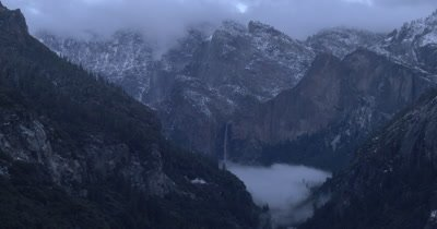 Yosemite Valley in a snow storm 4K