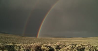 Double rainbows over the Bodie Hills in Eastern California 4K UHD