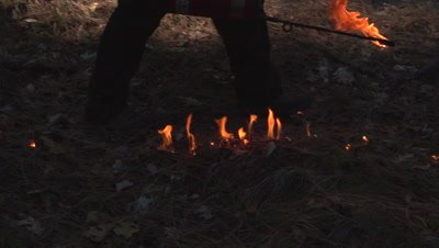 Wildland firefighter uses a driptorch to light a prescribed fire in super slow motion