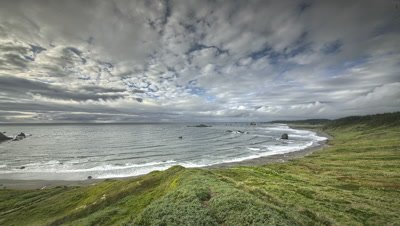 Clouds moving over Pacific Ocean on the Oregon Coast