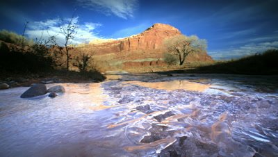 Ice Formations on river in Capitol Reef NP,Utah