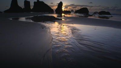 Beach at Sunset,Oregon Coast,Bandon