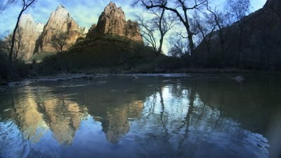 Virgin River and Rock Formations,Zion NP,Utah