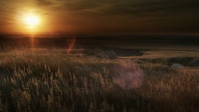 Grasslands at sunset,Badlands NP,SD
