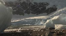 Antarctica Glacier at Seashore