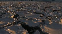 Tracking Shot Past Antarctic Broken Sea Ice