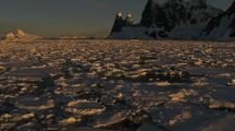 Tracking Shot Past Antarctic Broken Sea Ice