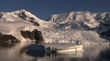 Ws Icey Vista Antarctic Mountains And Glacier On Shoreline From Boat Pov