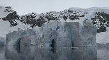 Floating Blue Fissured Glacier Ice