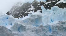 Floating Blue Fissured Glacier Ice