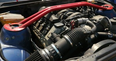 Engine of the drift car in open  hood