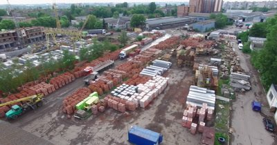 Warehouse of concrete materials for building constructions, above view