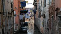 Drying Clothes Over The Canal In Venice