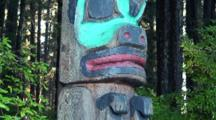 Tilt Up Colorful Totem Pole/ Tlingit Indian/Alaska