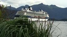 Cruise Ship Anchored Near Mountains & Beach Grass