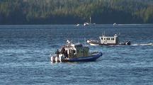Alaska State Patrol Boat Stopping A Boater