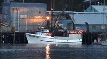 Commercial Fishing Boat In Southeast Alaska (Unloading)