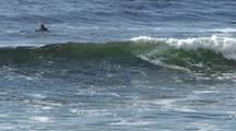 Winter Surfing.  Remote Rocky Beach