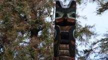 Totem Pole With Wind Blowing Through The Trees