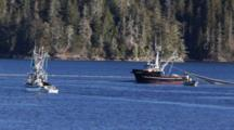 Commercial Fishing Boats Setting A Seine Net