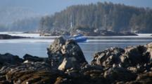 Commercial Fishing Boats Moving Through The Rocky Channel
