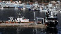 Scenic Boat Harbor-  Working On Fishing Nets