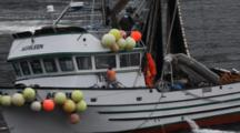 Commercial Fishing In The Wind And Rain
