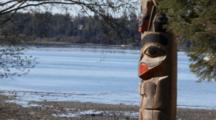 Totem Pole On Alaska Beach