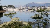 Scenic Boat Harbor And Volcano