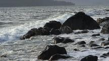 Storm Surge,  Surf, Rocky Beach, And Waves.