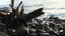 Storm Surge,  Drift Wood, Surf, Rocky Beach, And Waves.