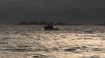 Fishing Boat Coming Home In A Storm.
