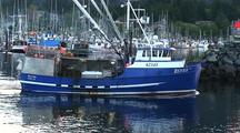 Commercial Fishing Boat Leaving A Boat Harbor