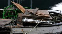 A Pan Shot Of A Old Fishing Boat Ready For The Scrap Yard.