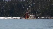 Purse Seine Boat Fishing With A Winter Background.