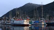 Fishing Boats At Dock  In A Harbor.