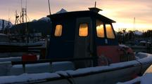 Sunrise In A Cold  Boat Harbor.