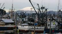 Fishing Fleet At Dock In A Harbor & Volcano Background