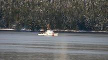 Coast Guard Cutter In A Fiord, Bay, Inlet