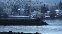 Winter Scene:  A Fishing Boat Leaves An Boat Harbor