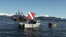 Dive Boat On Standby During A Fishery