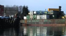 Ocean Tug & Barge Full Of Containers Docking