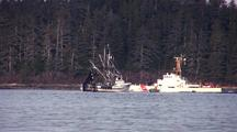 Coast Guard Cutter And Fishing Boat
