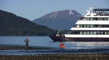 Cruise Ship , Kayaker, And Fly Fisherman