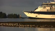 Cruise Ship, Lighthouse And Gulls