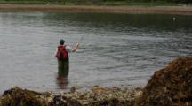 Fisherman And  Fish Jumping