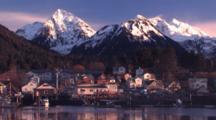 Early Morning Boat Harbor & Alpine Glow